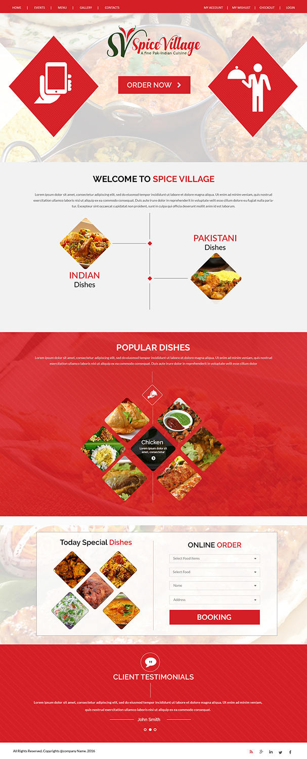 Restaurant web design for a company by creations box