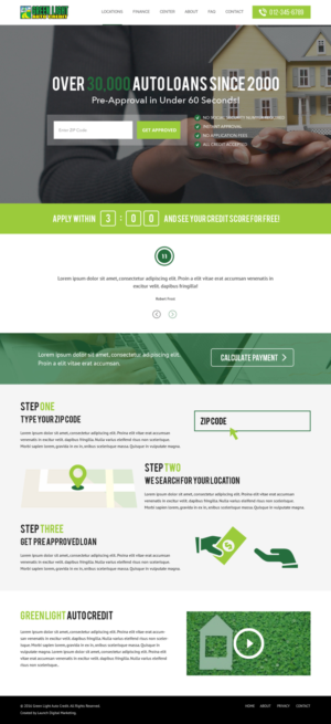 Web Design By Lauren For Green Light Auto Credit | Design: #9615303