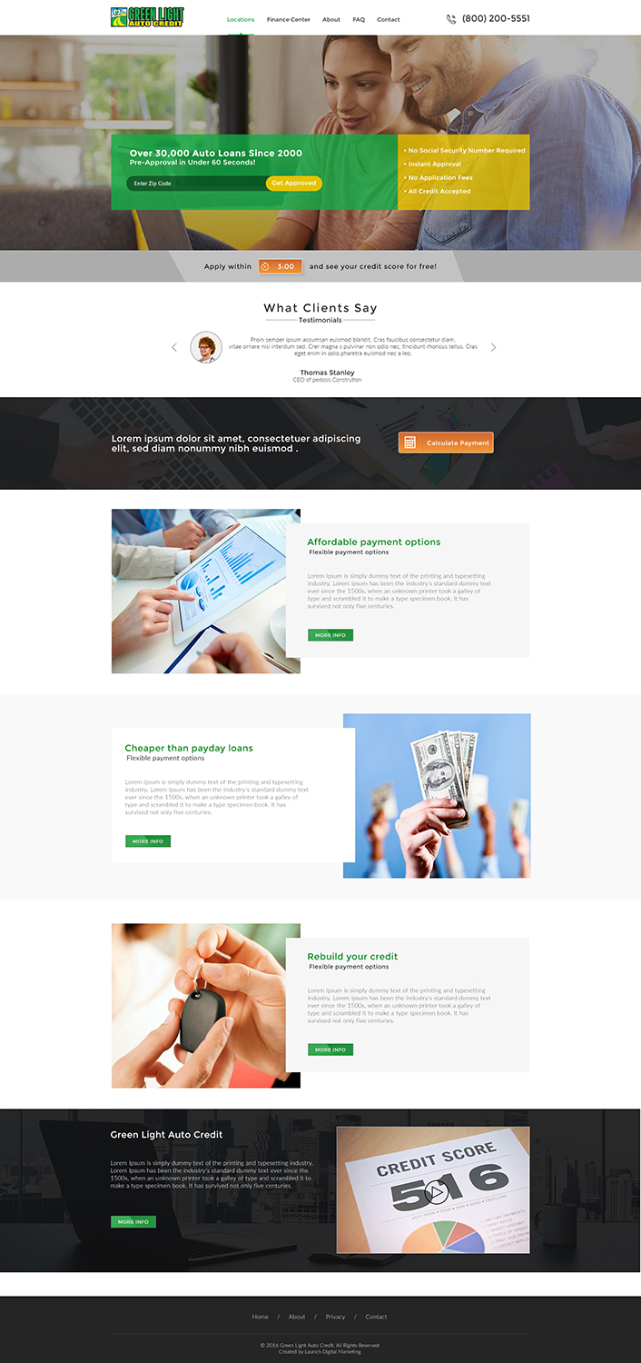 Modern, Bold, Loan Web Design for Green Light Auto Credit by Ved Web ...