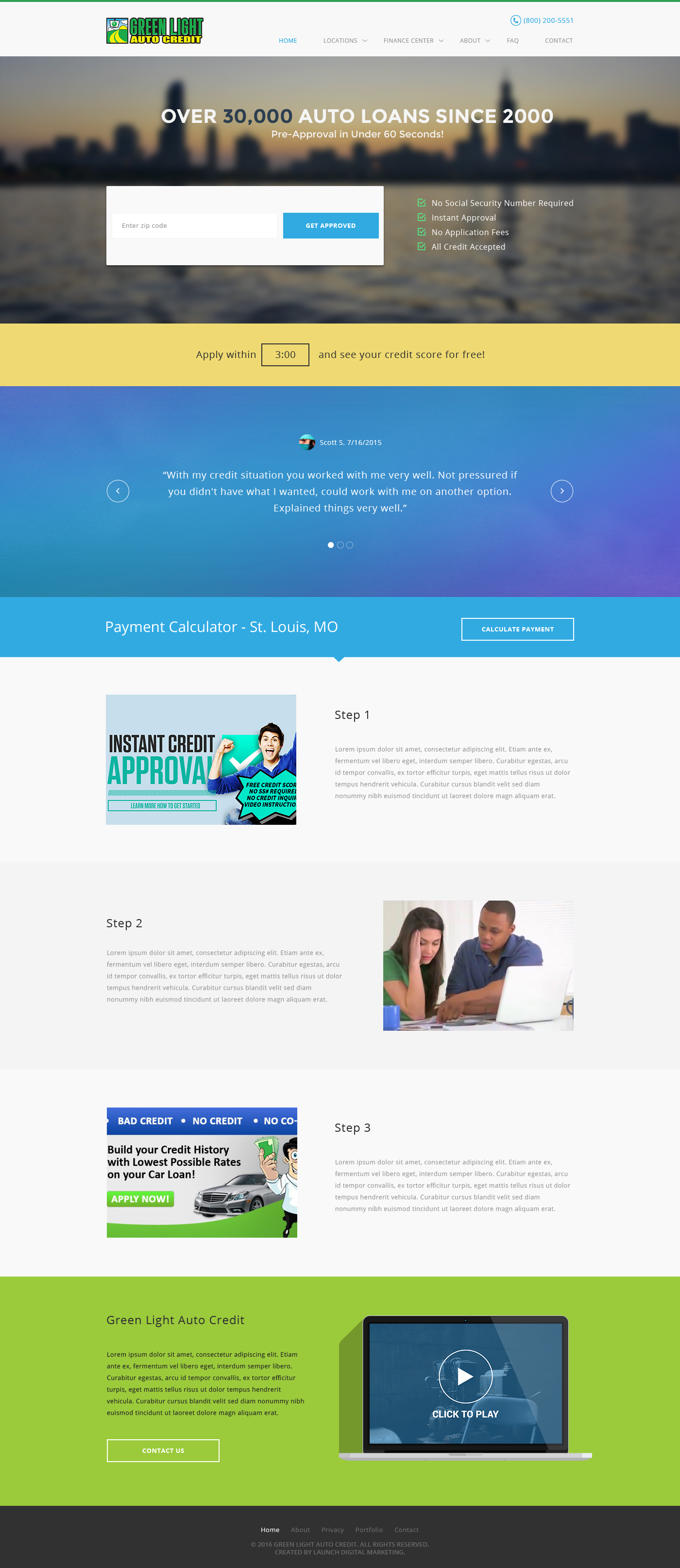 Modern Bold Web Design for Green Light Auto Credit by