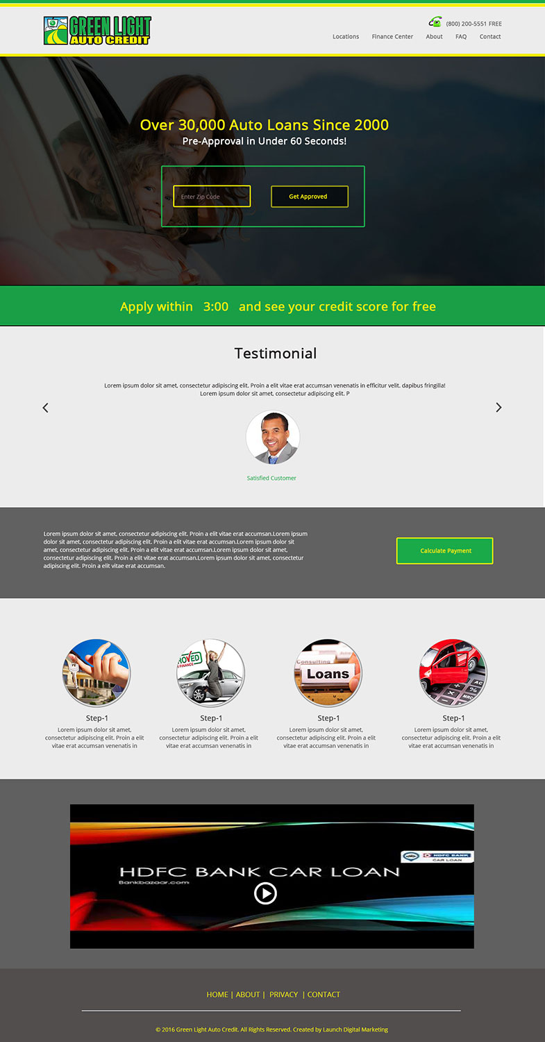 Modern, Bold, Loan Web Design for Green Light Auto Credit by ...