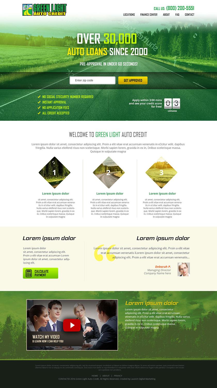 Moderne Audacieux Loan Web Design for Green Light Auto