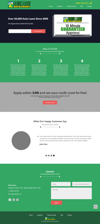 Modern Bold Loan Web Design for Green Light Auto Credit