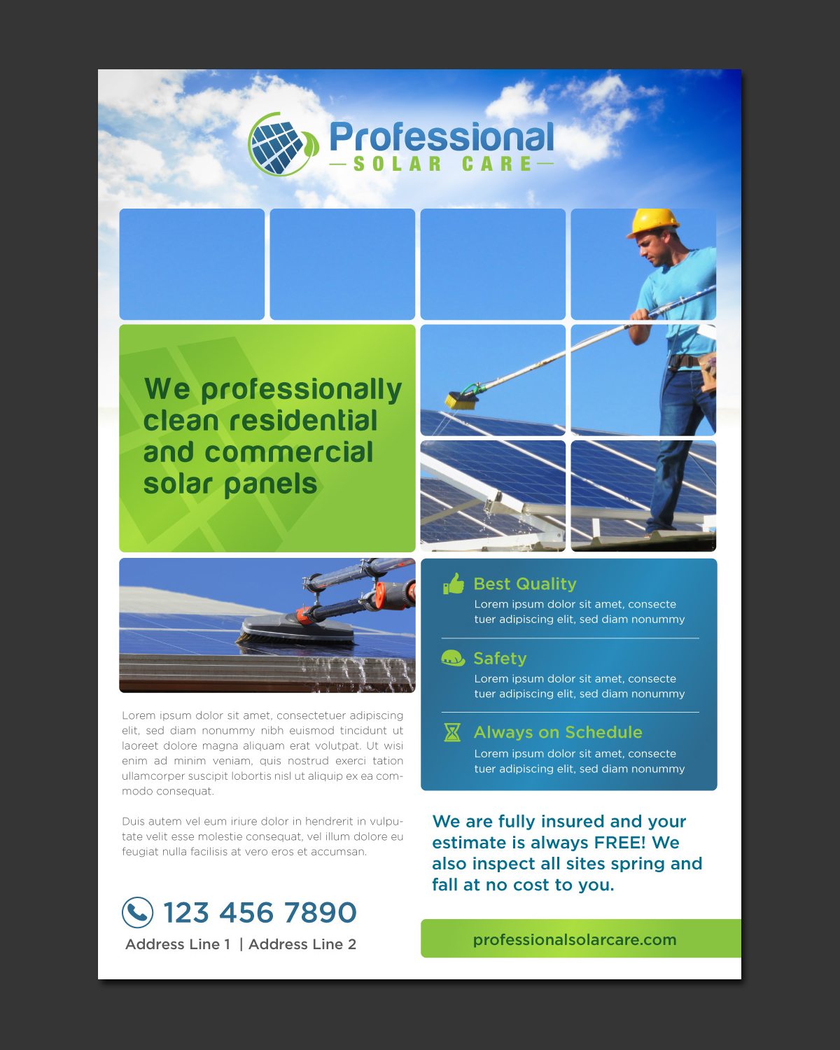 professional flyer designs for a business in flyer design design 9648272 submitted to solar panel cleaning flyer design
