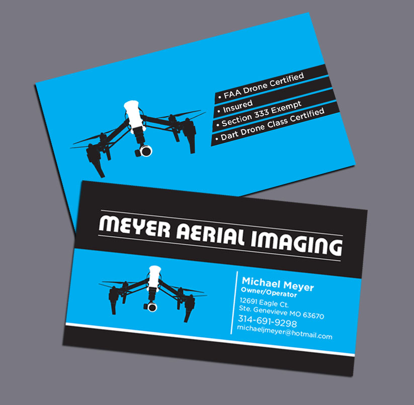 Serious modern business card design for meyer aerial imaging by business card design by mckydesign for business card design for drone videography and reheart Choice Image
