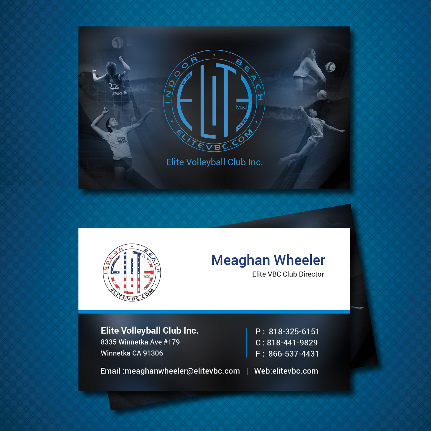 business card design for the elite volleyball club inc by uk