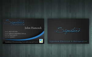 Business Card Design job – Signature Electrical – Winning design by Reactor Studios