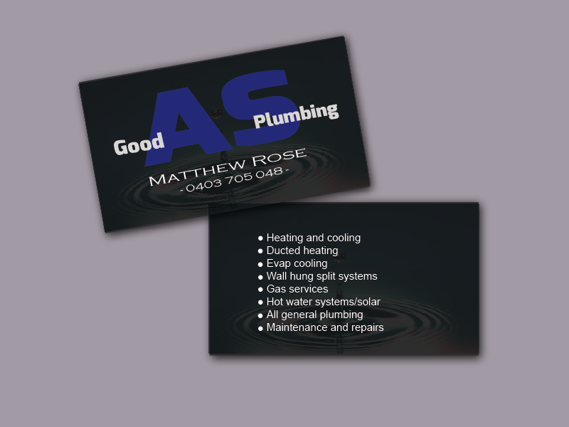 Elegant, Playful Business Card Design for Good as plumbing by AK ...