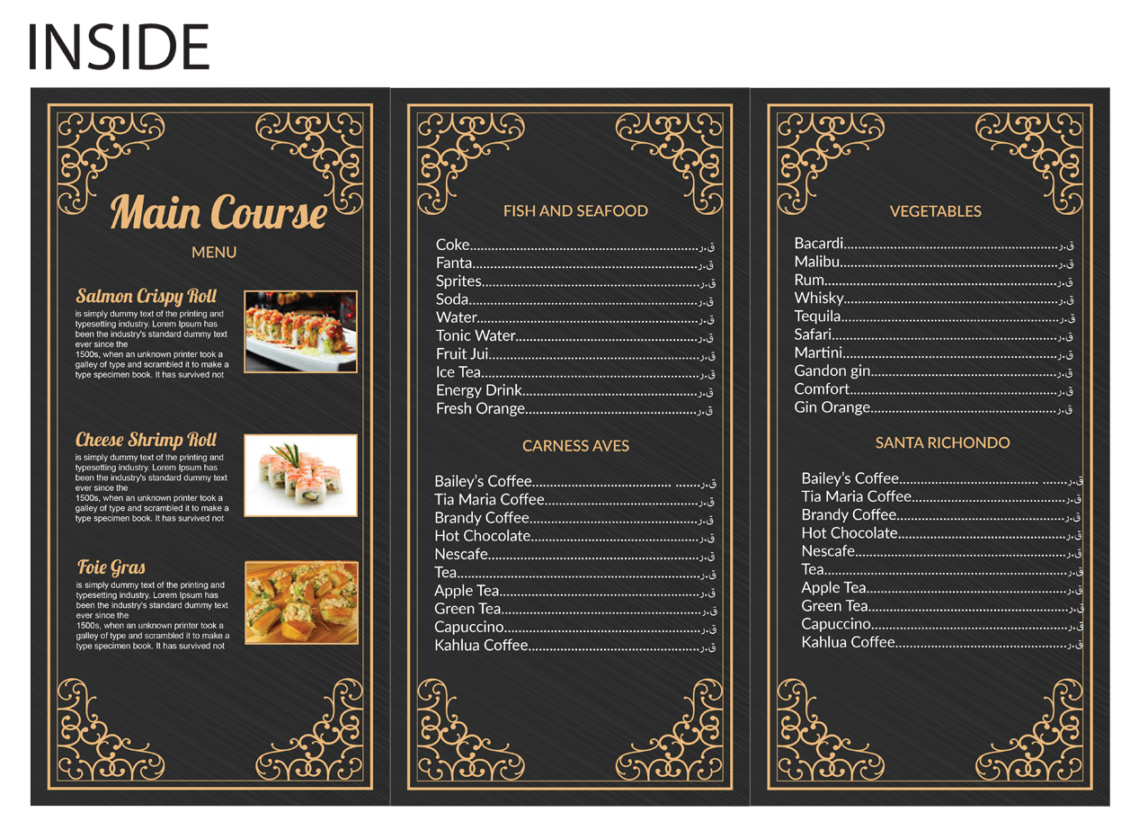 Modern professional menu design by graphicient