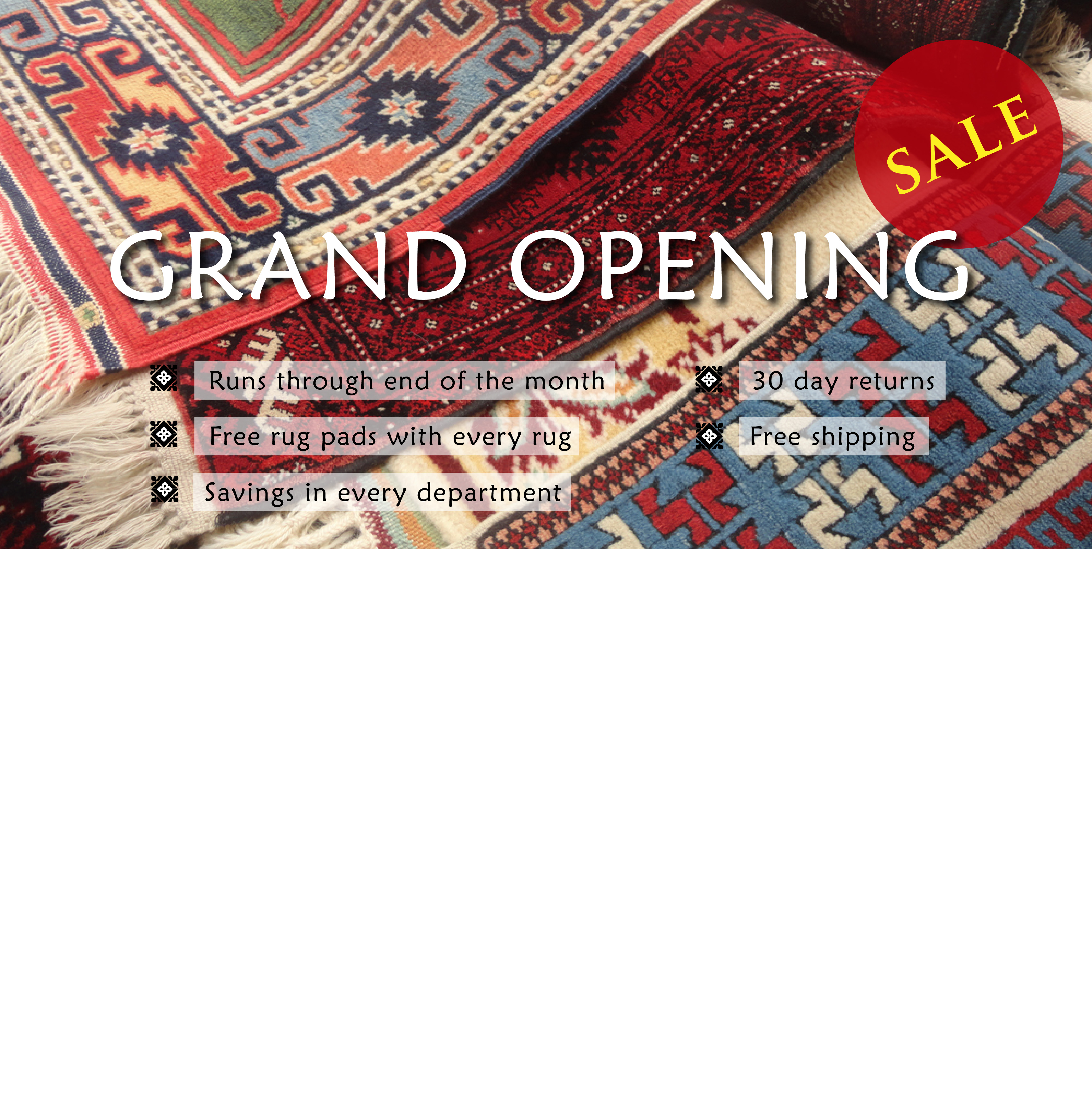 Banner Ad Design By Renata For Grand Opening Needed Incredible Rugs And Decor