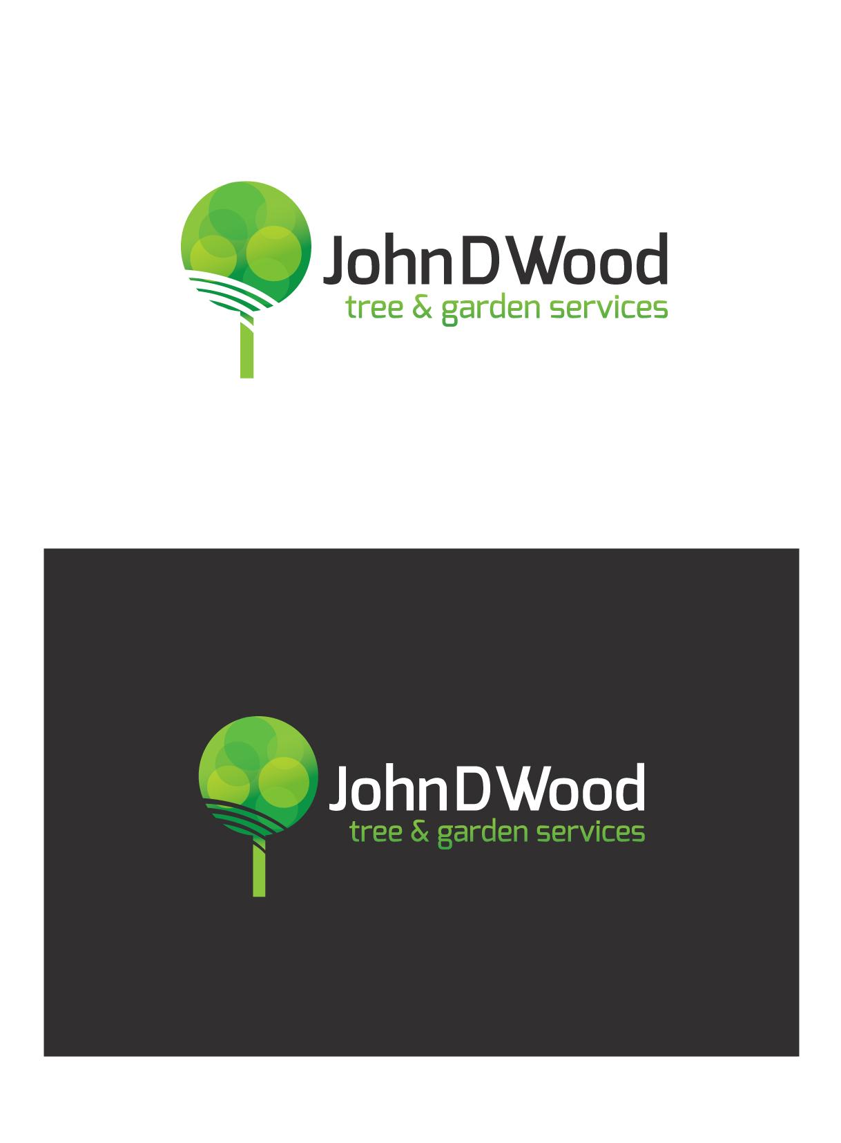 bold serious logo design for john d wood tree garden services