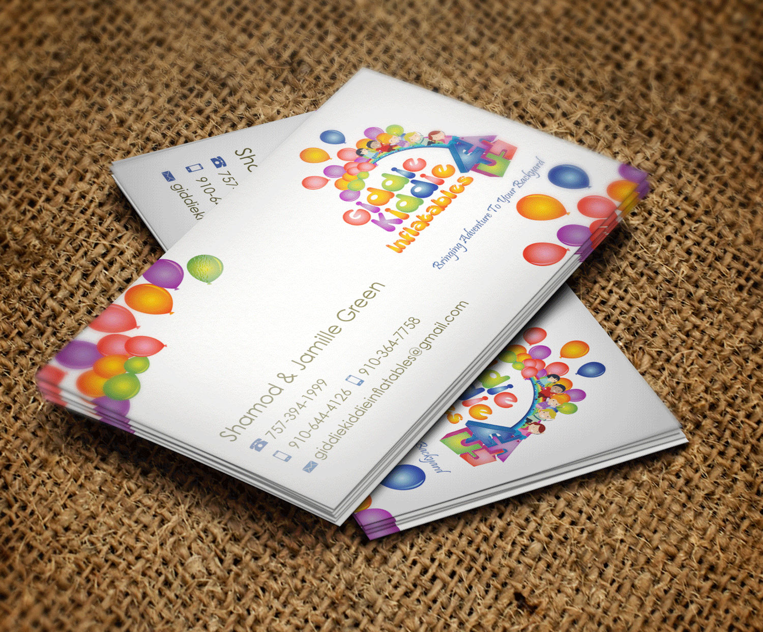 Playful Colorful Party Planning Business Card Design For Giddie Kiddie Inflatables By Riz
