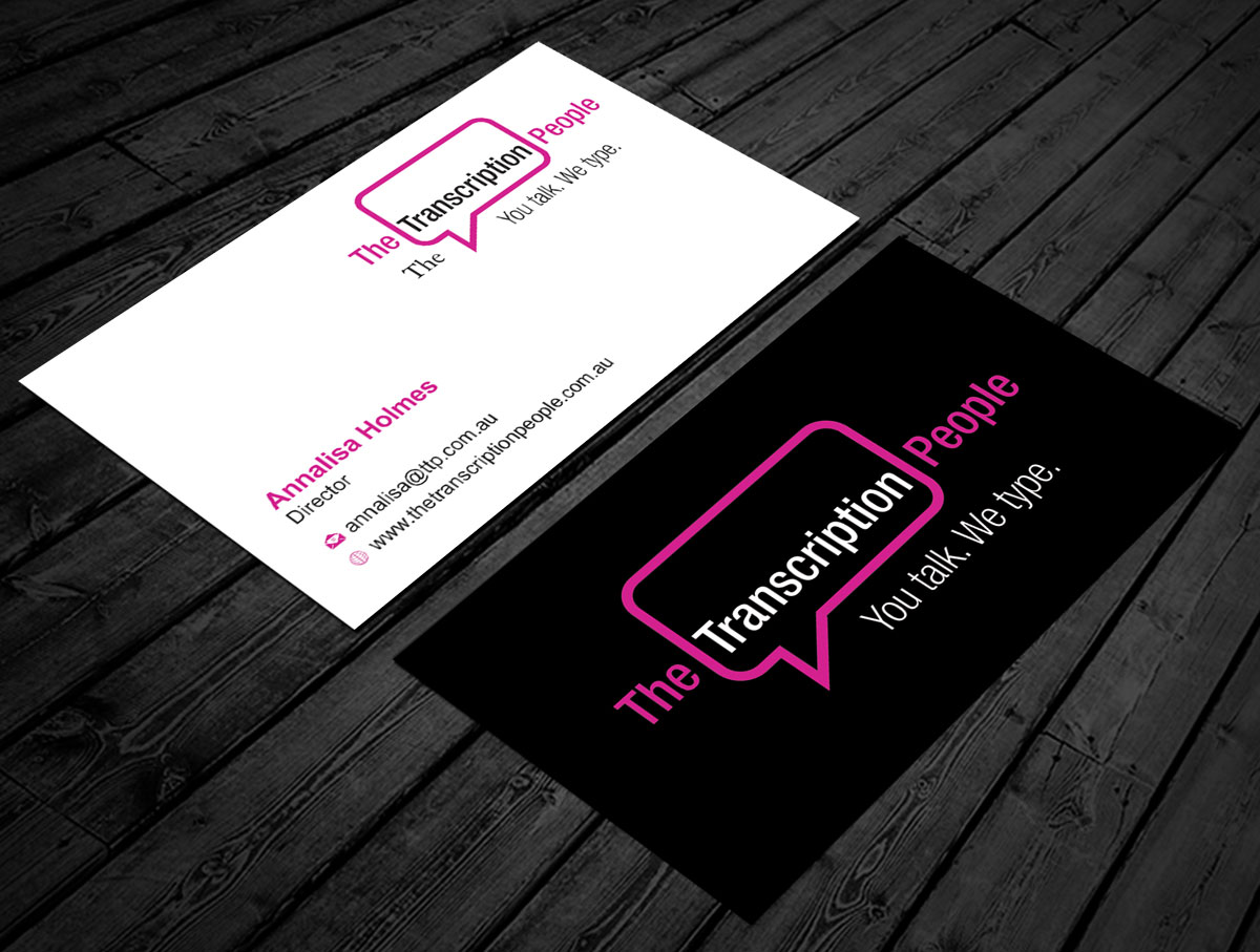 Business card design for the transcription people pty ltd by jetweb business card design by jetweb for typing service business card design design 9796074 colourmoves