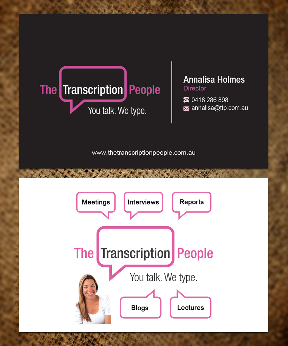 Business card design for the transcription people pty ltd by business card design by sandaruwan for typing service business card design design 9813491 colourmoves