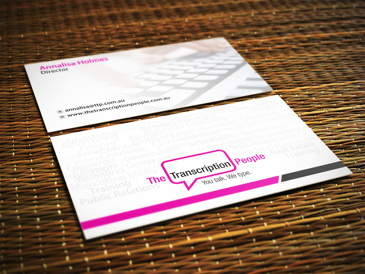 Business card design for the transcription people pty ltd by jagdish business card design by jagdish boga for typing service business card design design 9780747 colourmoves