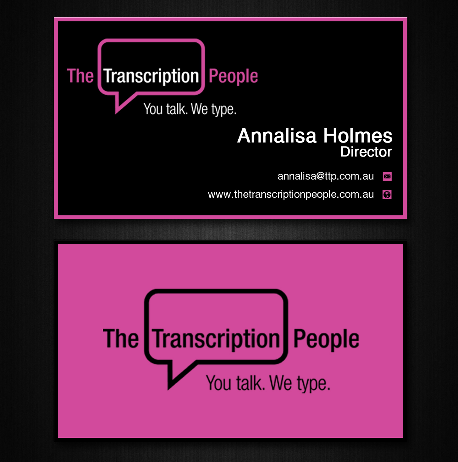 Business card design for the transcription people pty ltd by lanka business card design for the transcription people pty ltd by lanka ama design 9784068 colourmoves