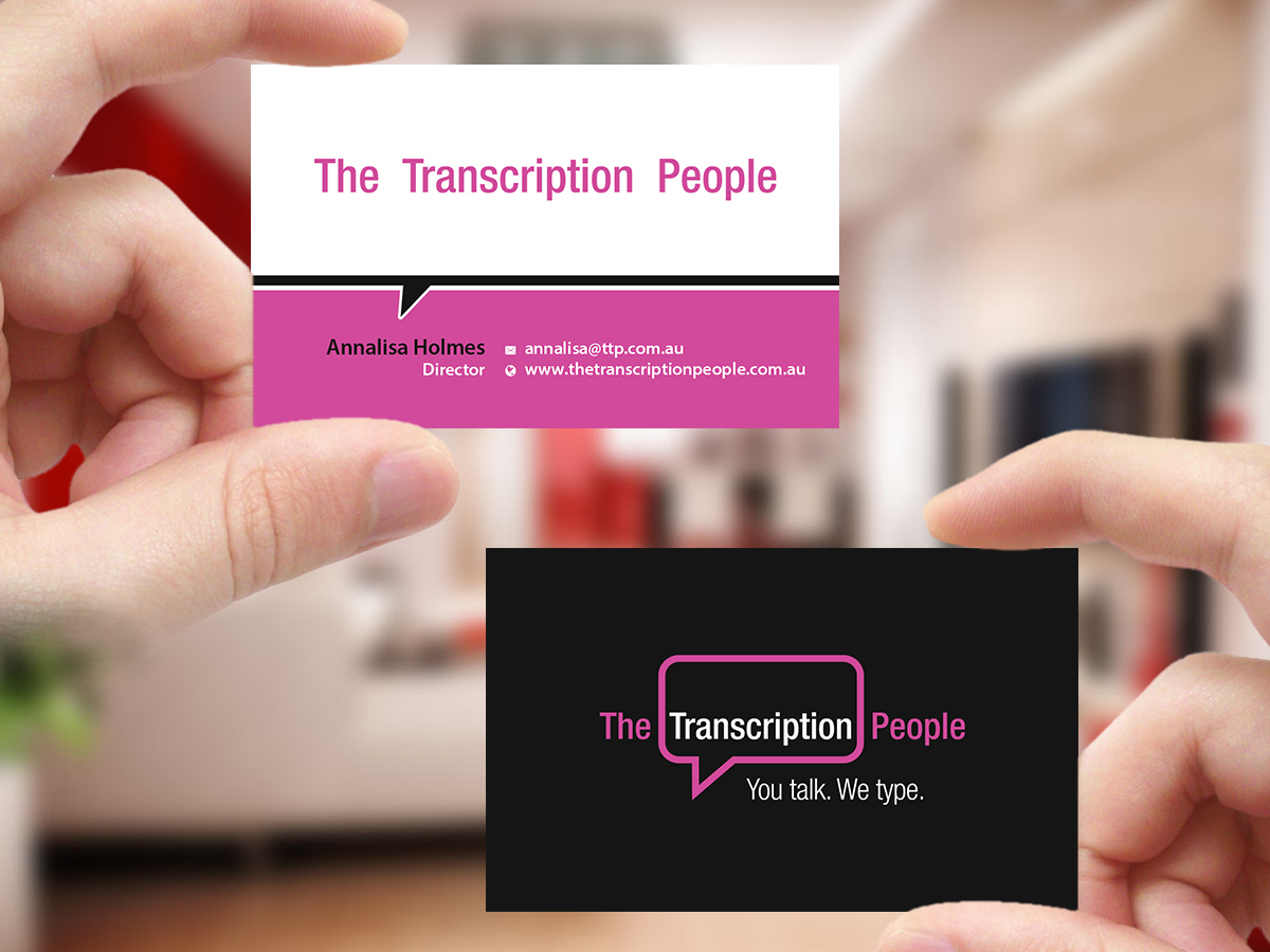 Business card design for the transcription people pty ltd by business card design by creations box 2015 for typing service business card design design colourmoves
