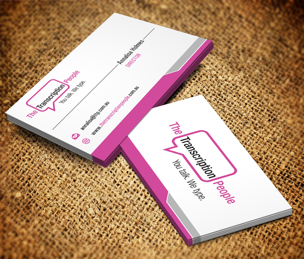 Business card design for the transcription people pty ltd by business card design by owaisias for typing service business card design design 9780229 colourmoves