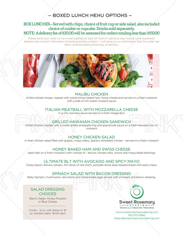 catering menu design