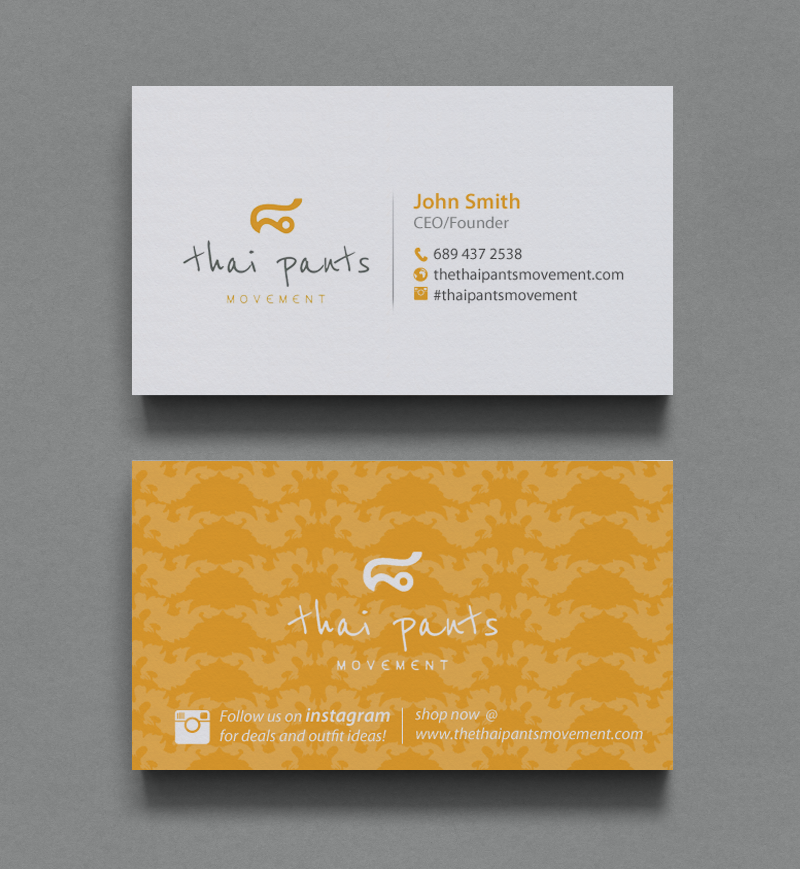 Modern Professional Clothing Business Card Design For The Thai Pants Movement By Chandrayaan Creative Design 9792130