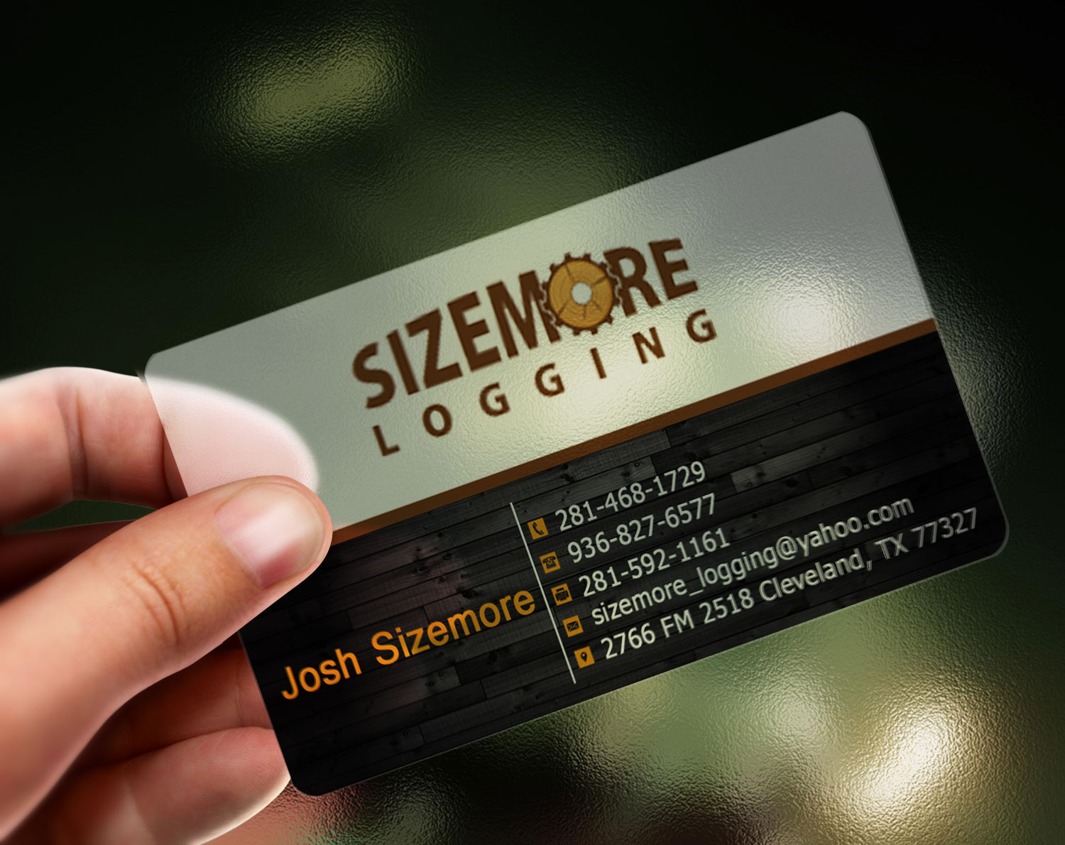 Traditional elegant business card design for joshua for Logging business cards