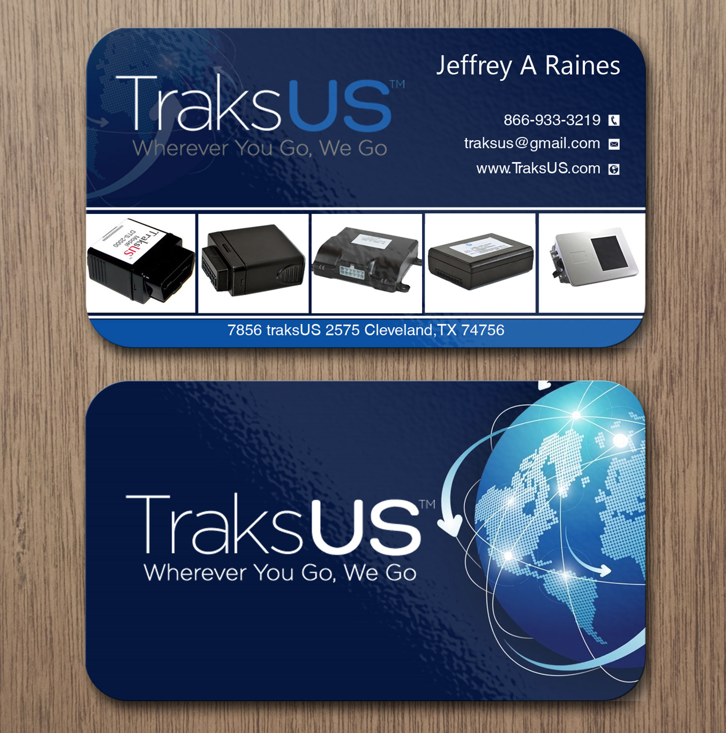 business card design for traksus by lanka ama