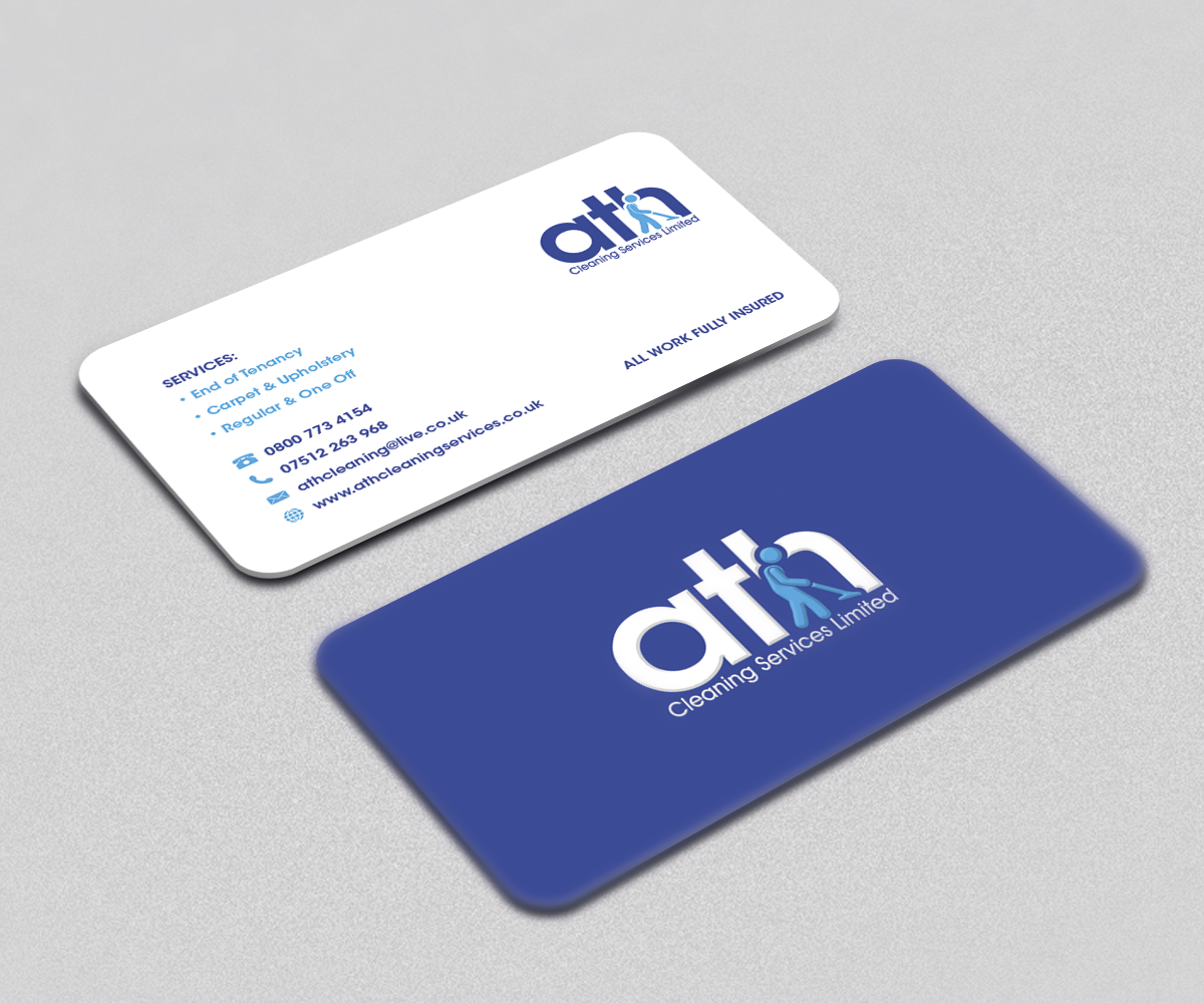 Upmarket, Bold, House Cleaning Business Card Design for ATH Cleaning ...