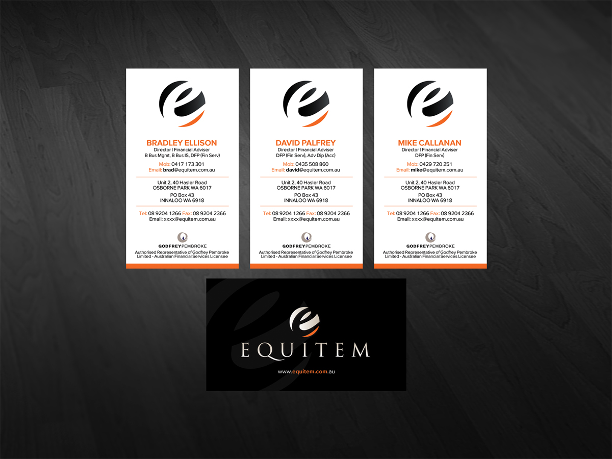 Professional Serious Business Business Card Design For Equitem By