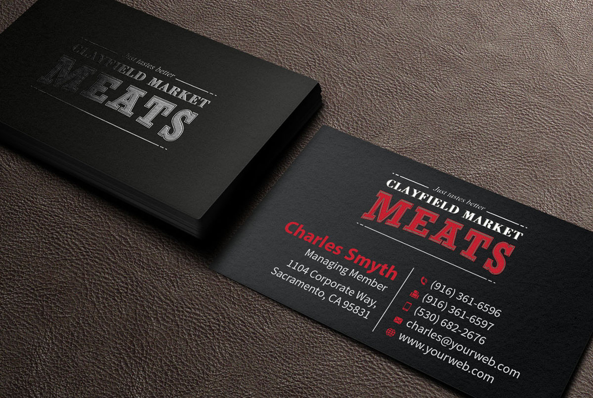 Upmarket, Serious Business Card Design for Clayfield Market Meats ...