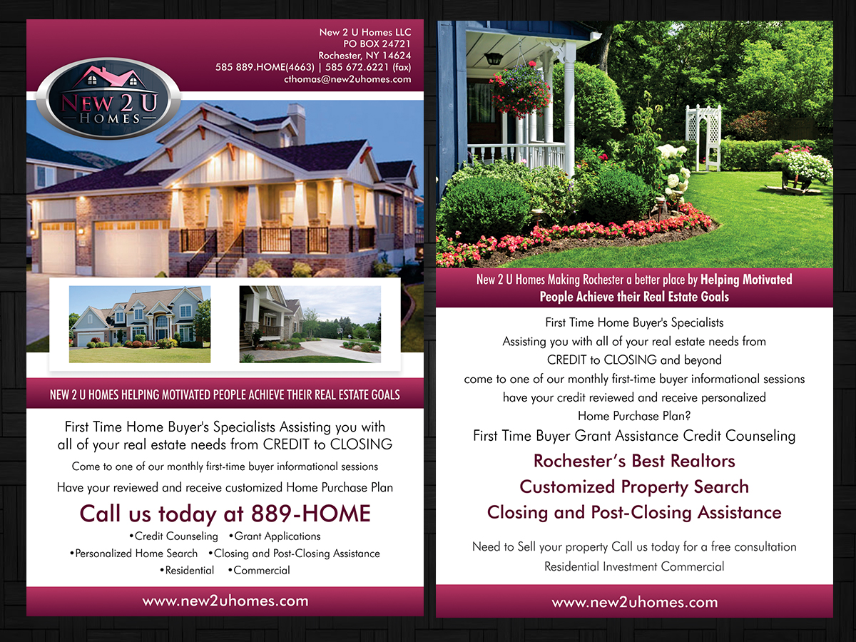 modern professional real estate flyer design for a company by