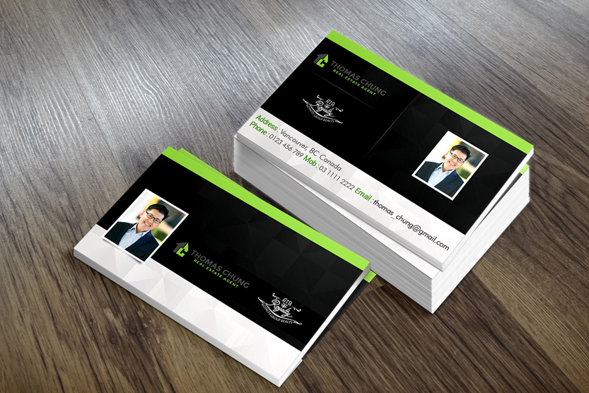 Upmarket elegant business card design for thomas chung by mb design business card design by mb design india for real estate agent need a business card reheart Images