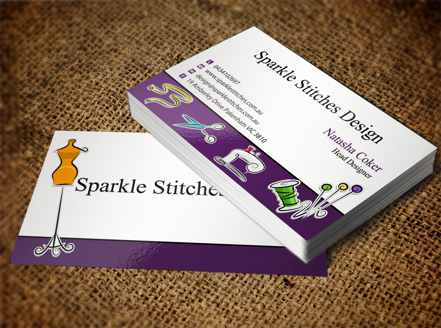 Embroidery Business Card Design For M2m Business Property Pty Ltd