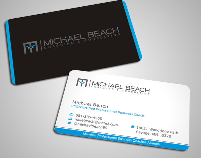 Bold modern business business card design for michael beach bold modern business business card design for michael beach coaching consulting llc in united states design 2189072 reheart Image collections