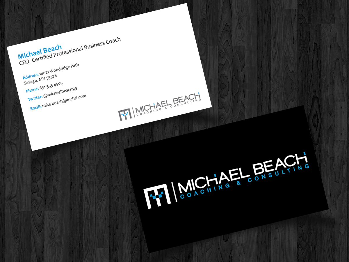 Bold modern business business card design for michael beach bold modern business business card design for michael beach coaching consulting llc in united states design 2207128 reheart Image collections