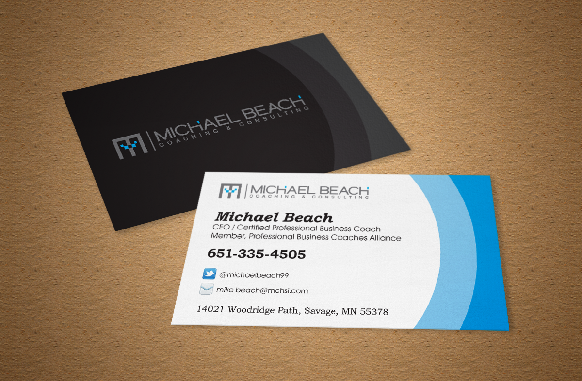 Bold modern business business card design for michael beach business card design by ardi for michael beach coaching consulting llc design reheart Image collections