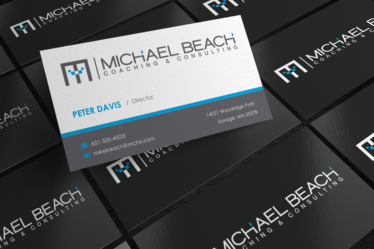 Bold modern business business card design for michael beach bold modern business business card design for michael beach coaching consulting llc in united states design 2174861 reheart Image collections