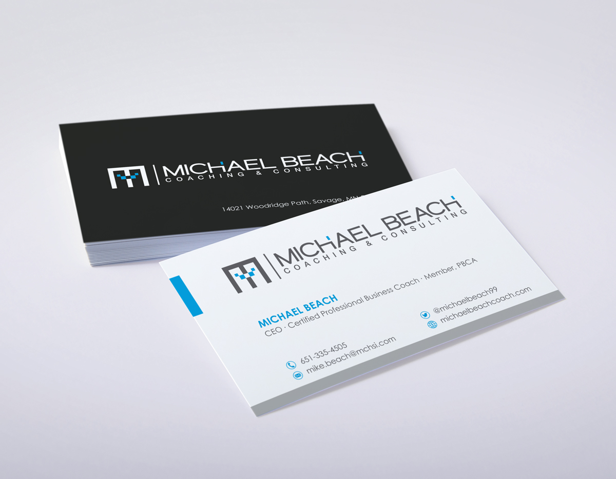 Bold modern business business card design for michael beach bold modern business business card design for michael beach coaching consulting llc in united states design 2181960 reheart Image collections
