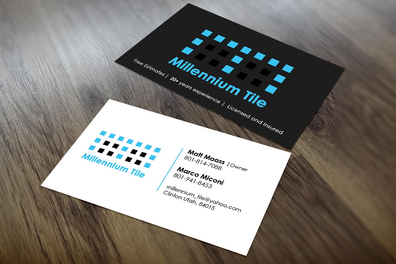 Elegant playful business card design for millennium tile for Tiler business card