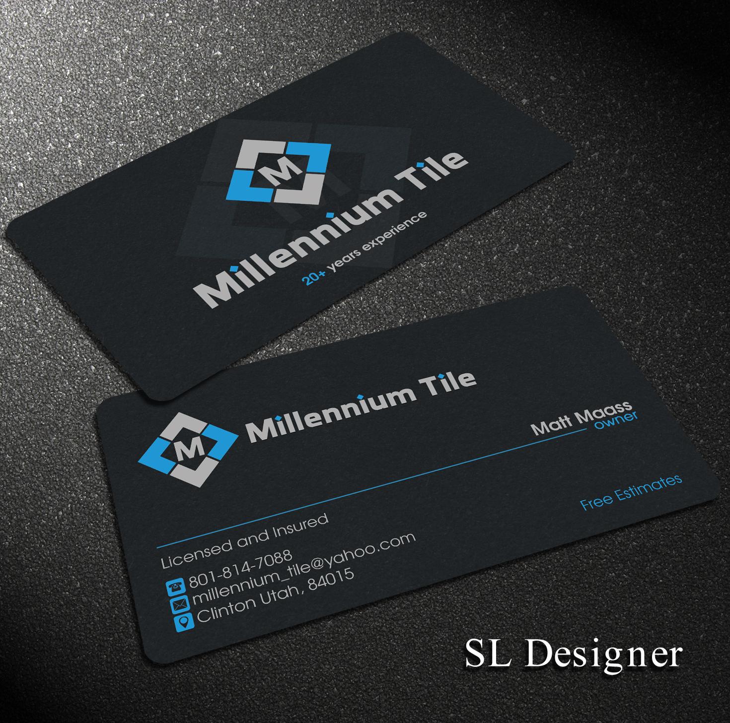 Elegant Playful Business Card Design for Millennium Tile LLC by