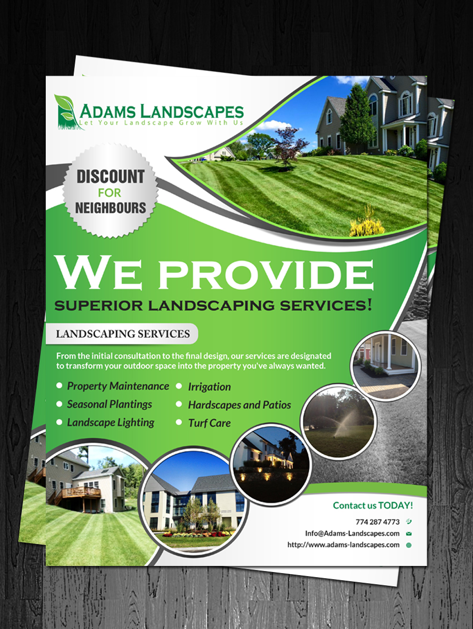 Professional bold landscaping flyer design for adams for Landscaping flyers templates