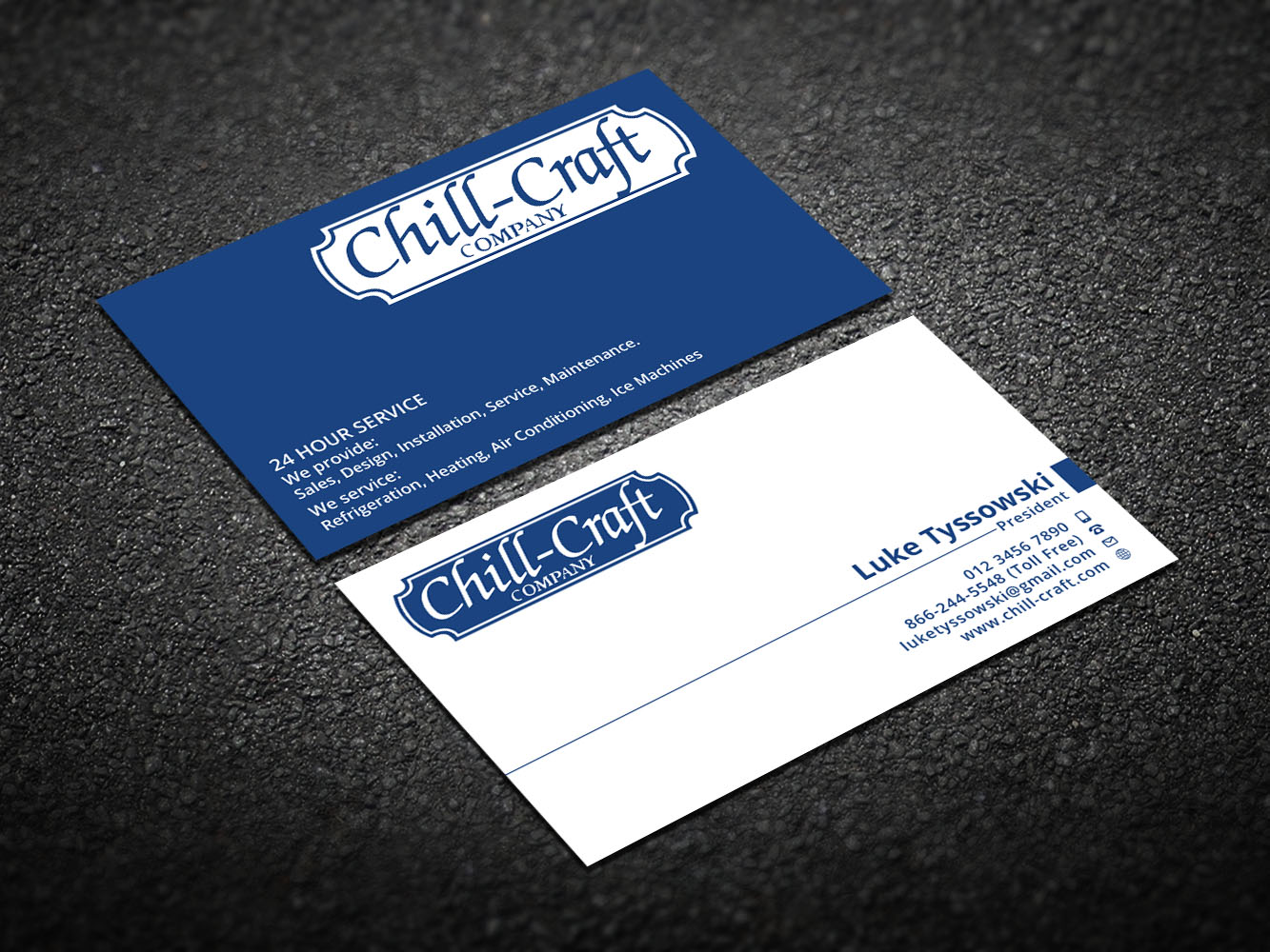 modern professional business card design for chillcraft company