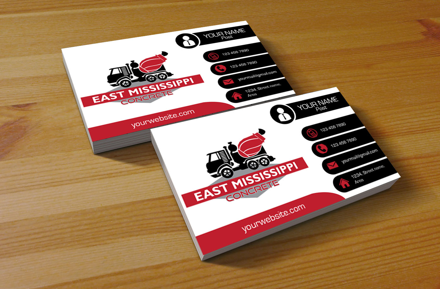 Modern, Bold Business Card Design for East Mississippi Concrete by ...