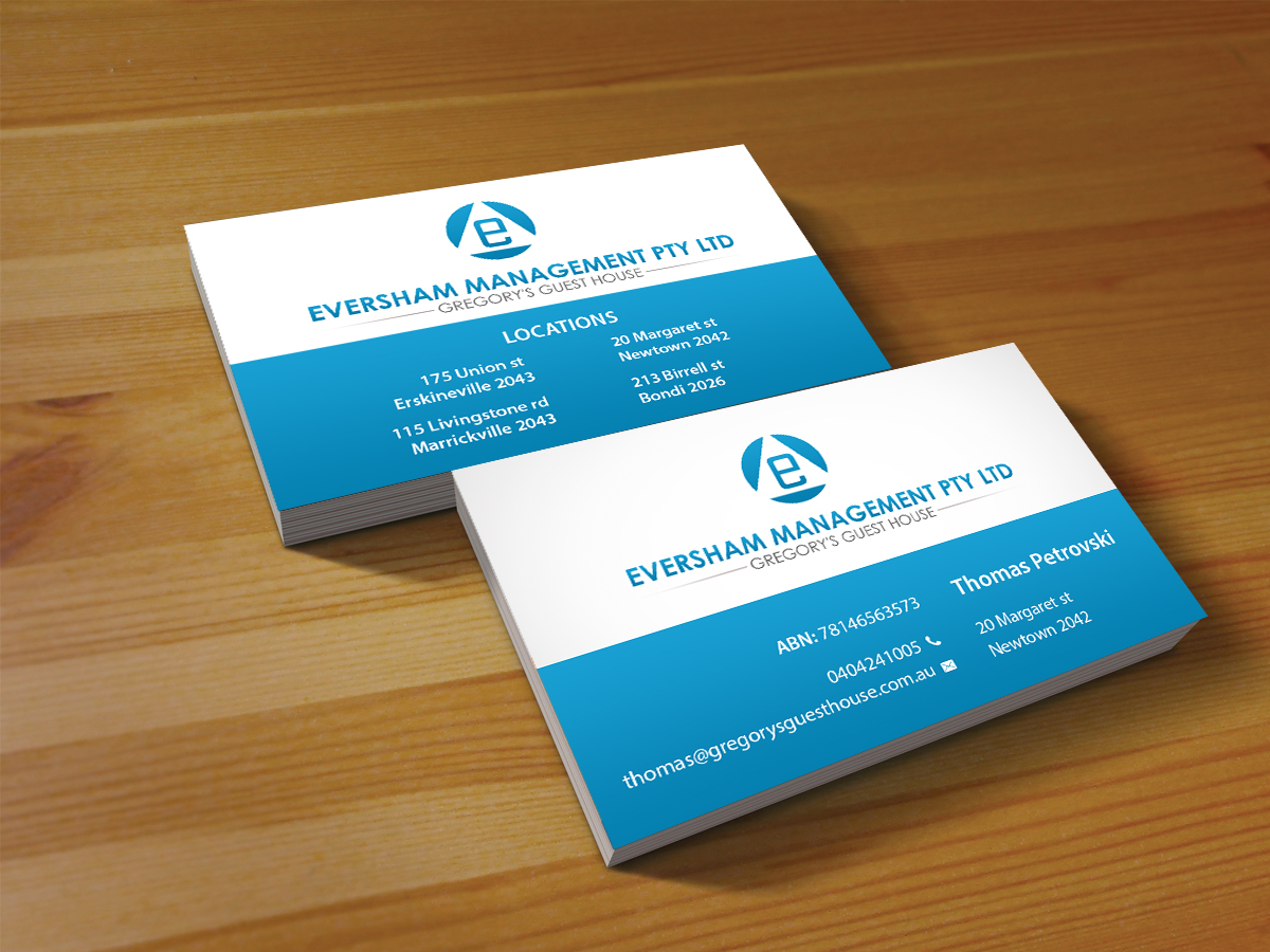Business business card design for eversham management pl for Business card management