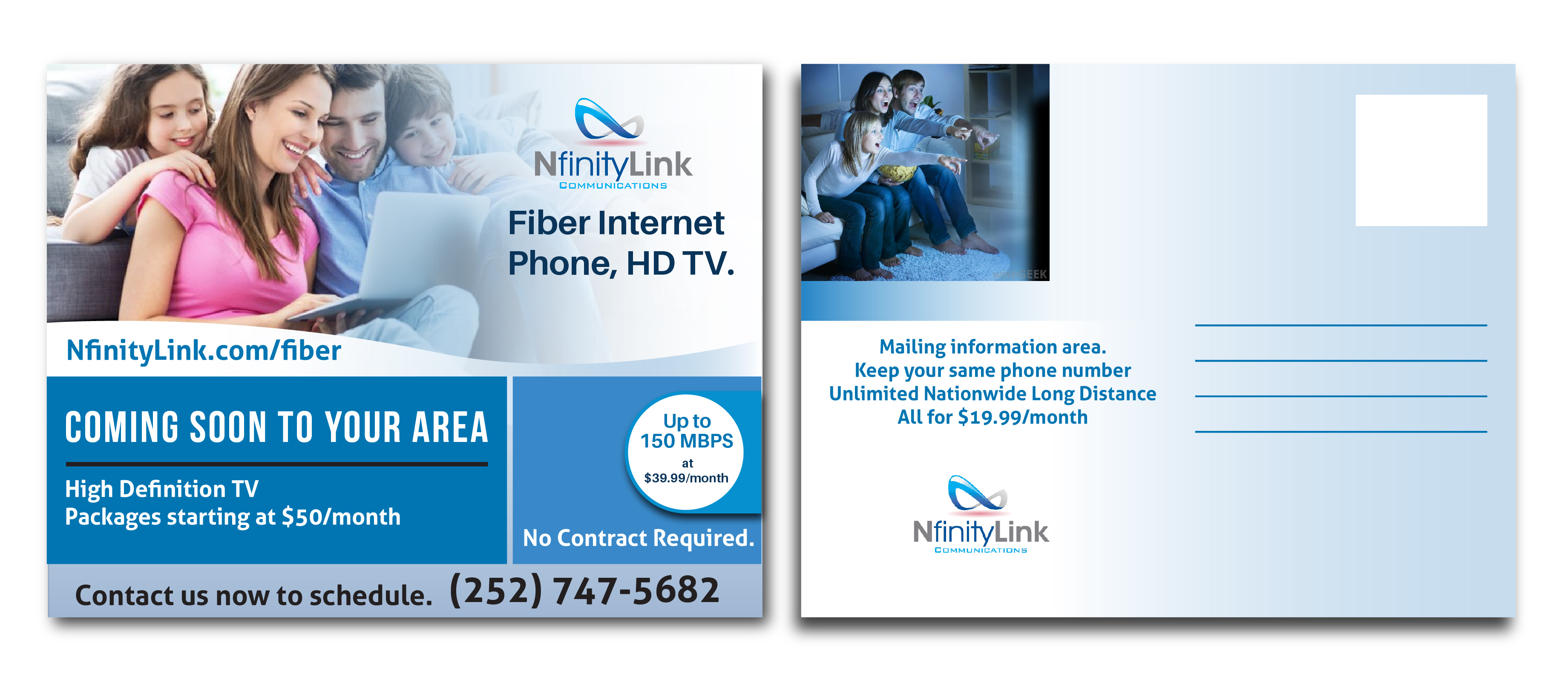 Modern, Professional Postcard Design for Infinity Network Services ...