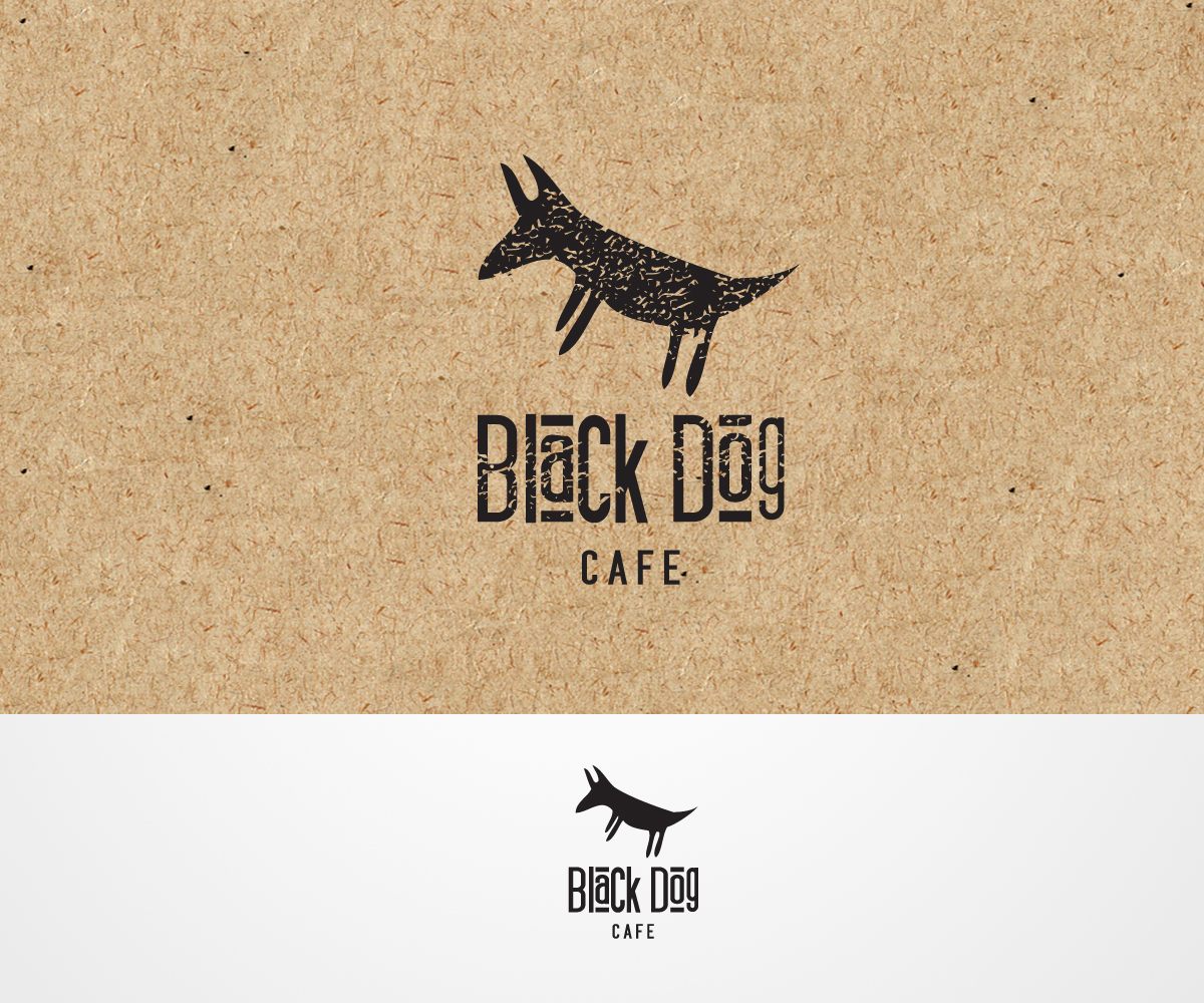 modern bold cafe logo design for black dog cafe by jacqui design