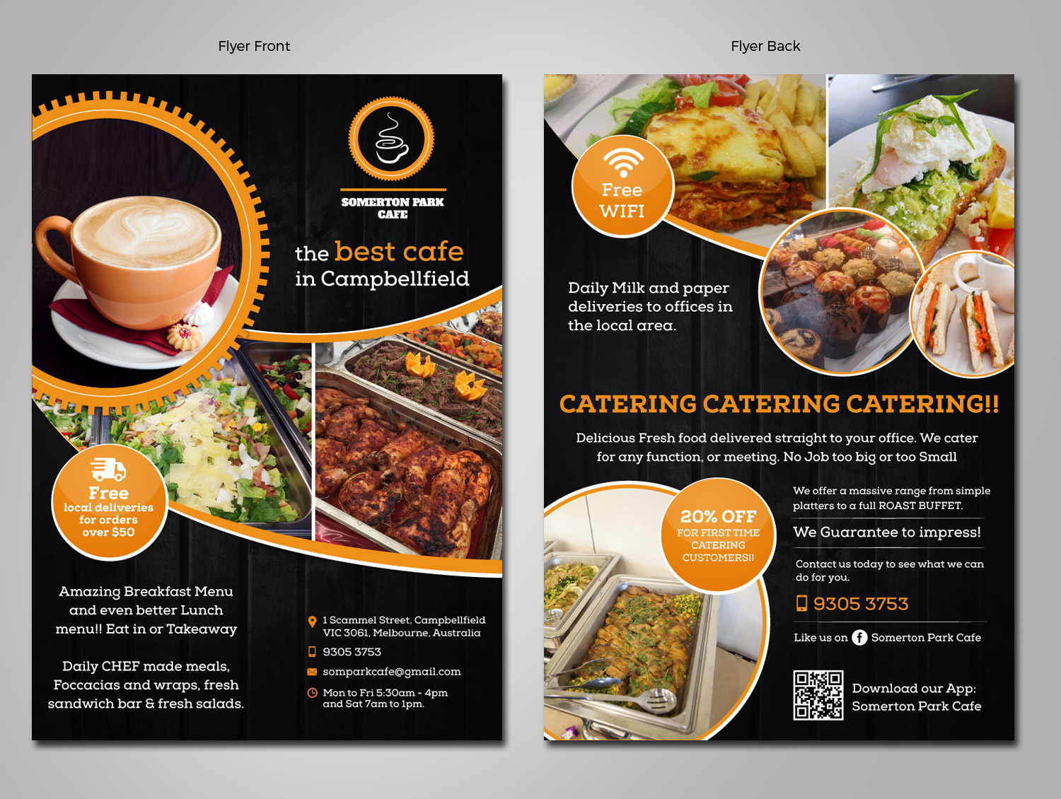 elegant playful cafe flyer design for somerton park cafe by