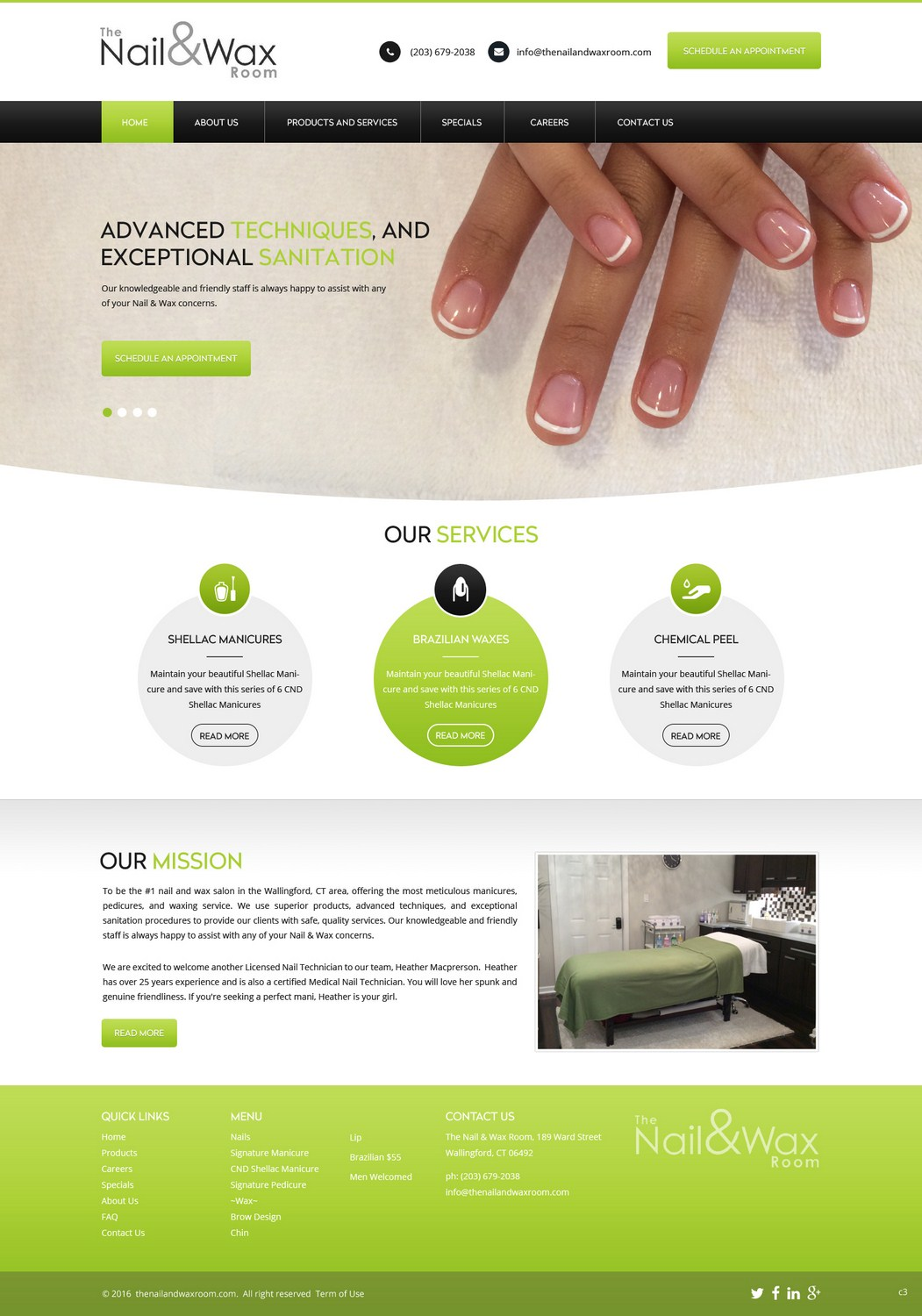 Modern, Upmarket, Beauty Salon Web Design for The Nail & Wax Room ...