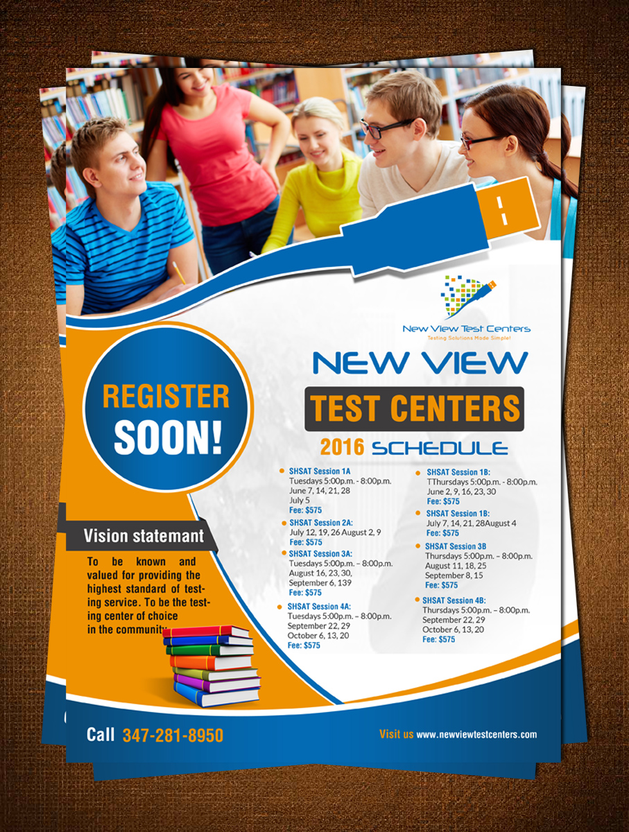 bold modern school flyer design for new view test centers llc by