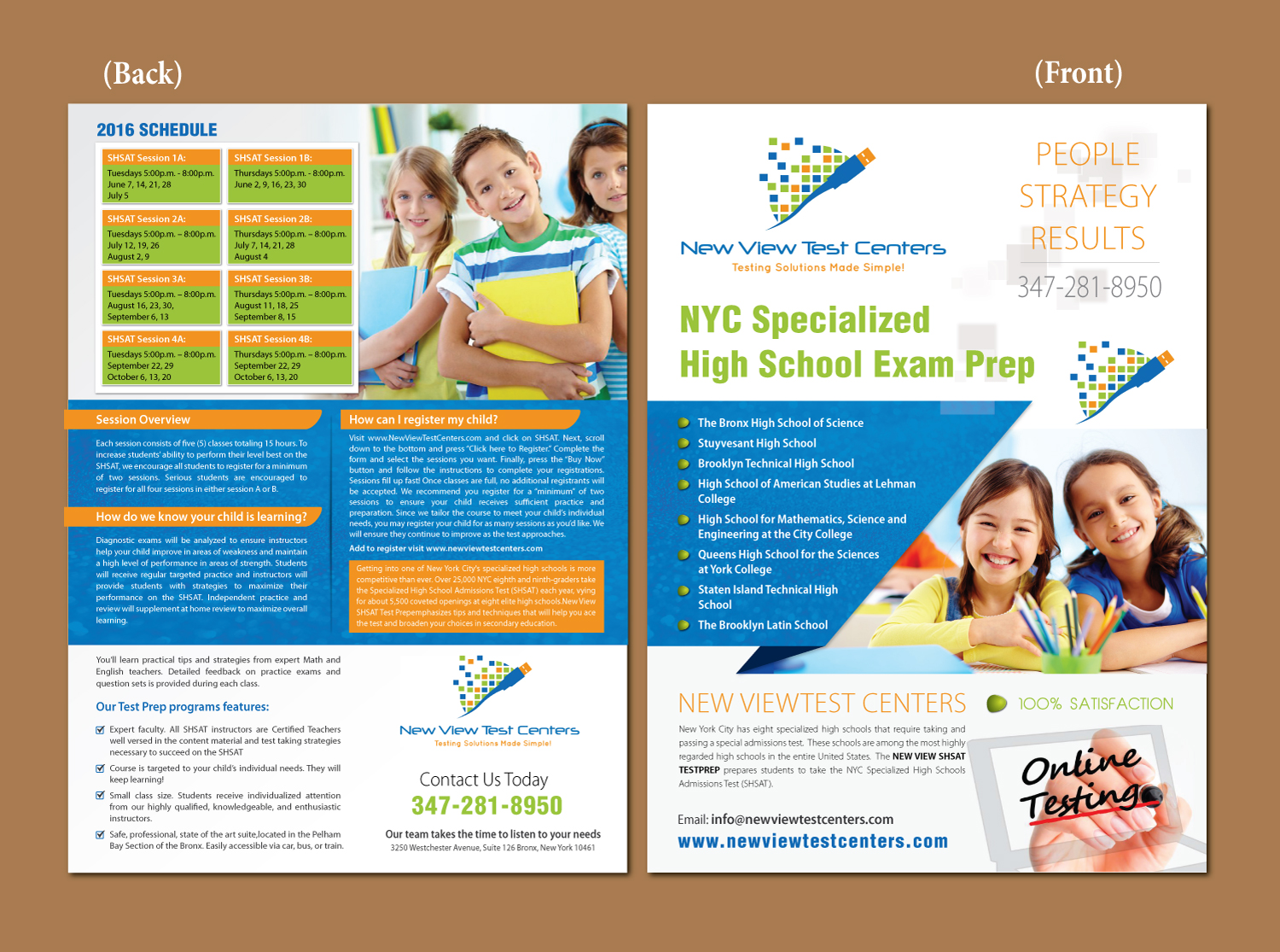 Bold, Modern, School Flyer Design for New View Test Centers, LLC by