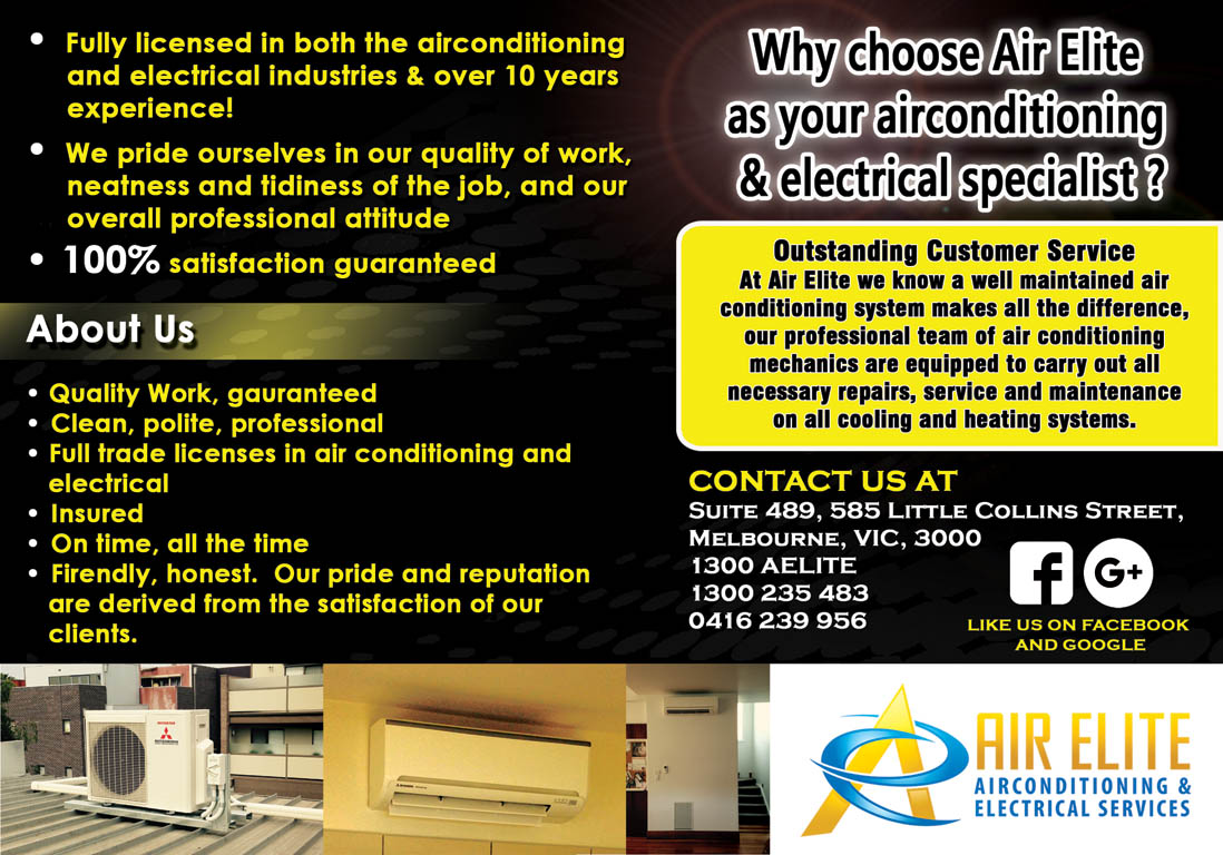 bold, modern flyer design for air elite airconditioning and